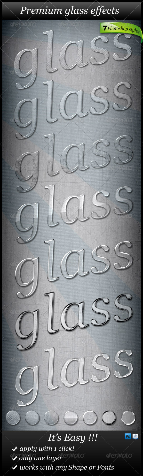 7 Glass Text Styles - Photoshop Add-ons