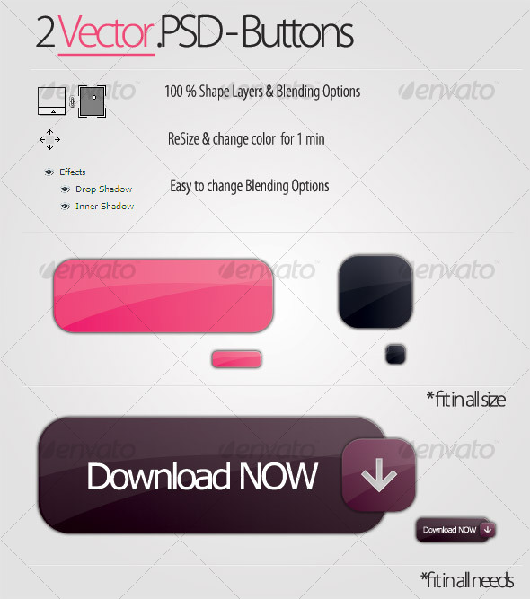 PSD VECTOR BUTTONS #1 - Backgrounds Graphics