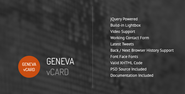 ThemeForest Geneva Personal vCard Template 1580396
