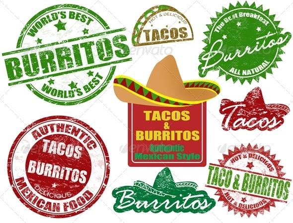 GraphicRiver Tacos and burritos stamps 1614191