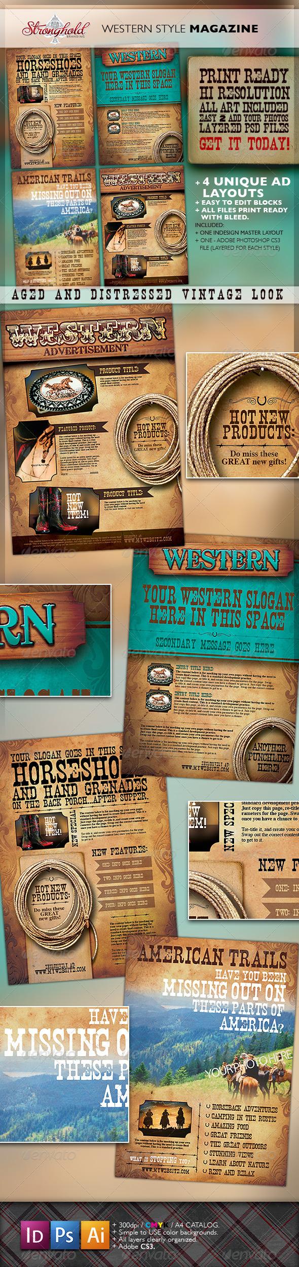 GraphicRiver Western Vintage Magazine Ads 1614743