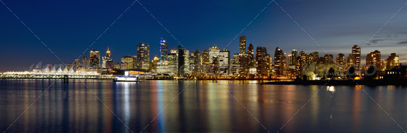 Vancouver BC Skyline from Stanley Park during Blue Hour - Stock Photo - Images