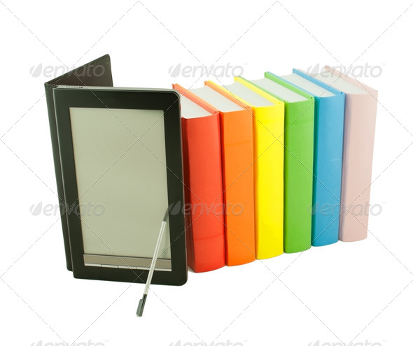 Row of colorful books and electronic book reader isolated on whi - Stock Photo - Images