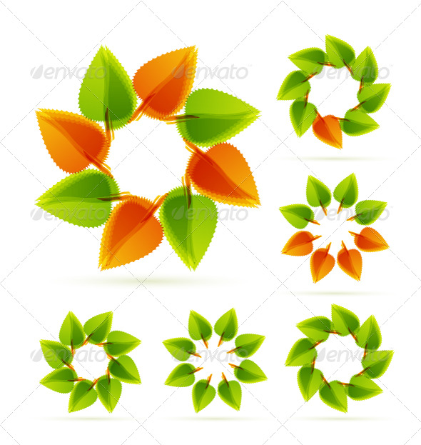 Leaf circle icons - Nature Conceptual