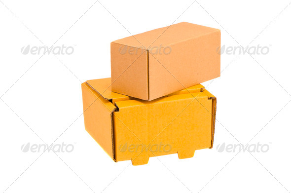 two isolated cardboard boxes - Stock Photo - Images