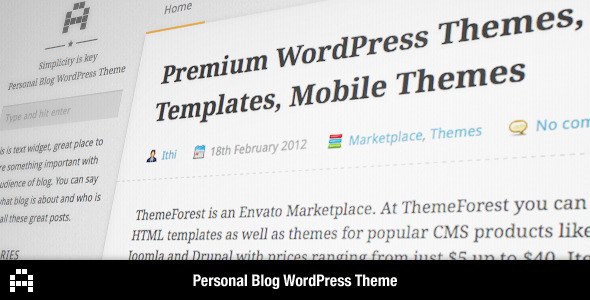 ThemeForest A Personal Blog WordPress Theme 1619045