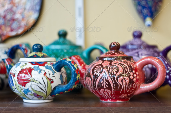 Authentic Iznik tile work cups - Stock Photo - Images