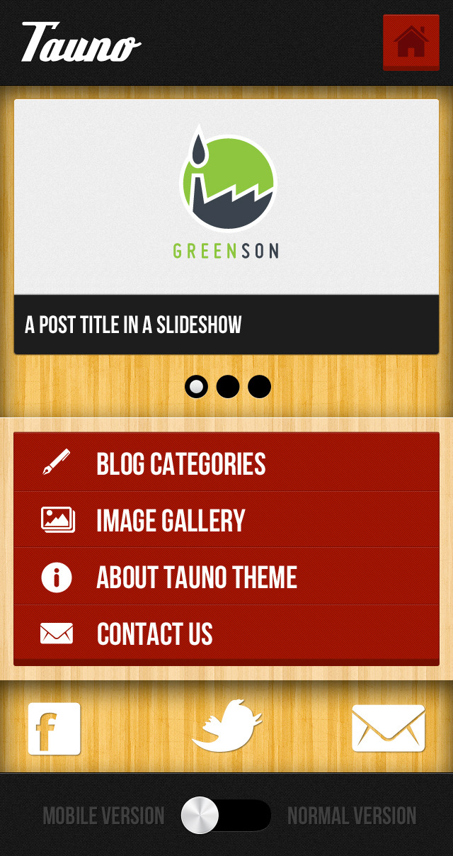 Tauno - A Mobile .PSD Theme - This is the homepage. It contains a top slideshow where you can display your featured posts, and a touch-friendly menu, for quick access to the content. You can see a Social media and contact block at the footer as well as a sleek switcher for the mobile and normal site view.