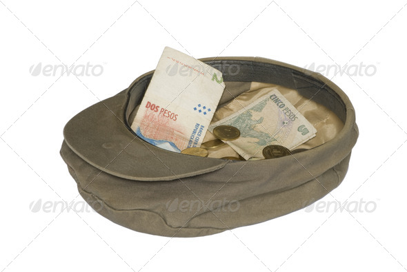 Hat and Money Over White - Stock Photo - Images