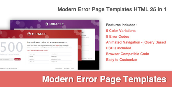 Modern Error Page Template 25 in 1