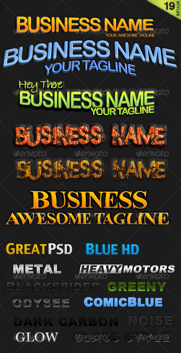 Graphic River 19 Text Styles Add-ons -  Photoshop  Styles  Text Effects 63589