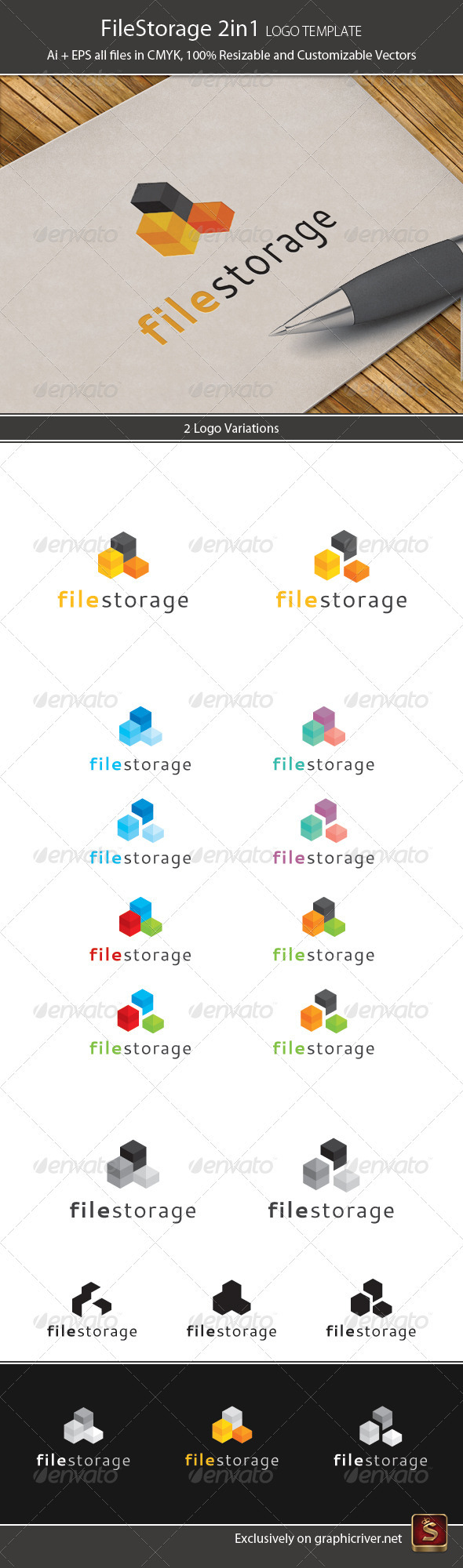 File Storage 2in1 Logo Template - Vector Abstract