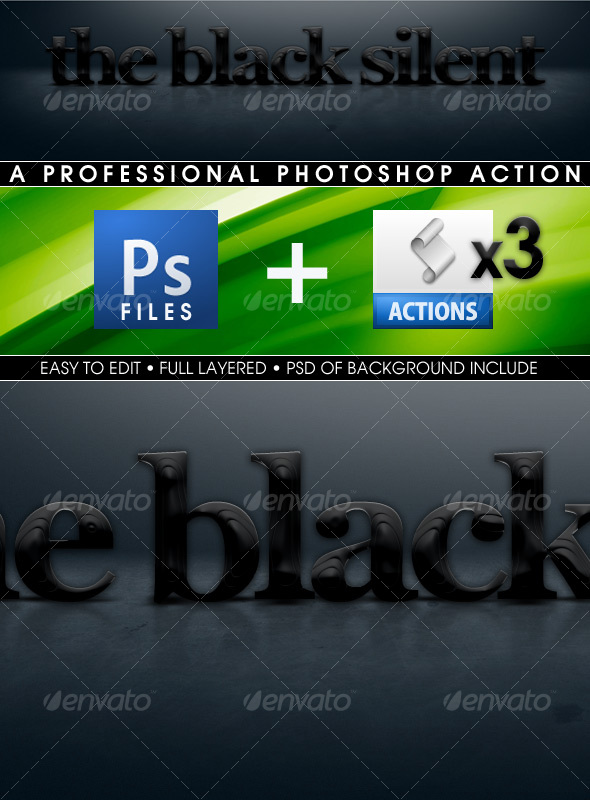 Graphic River The Black Silent Actions Add-ons -  Photoshop  Actions  Text Effects 61061