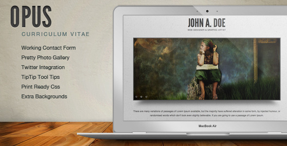 ThemeForest Opus Resume CV Online Template 240049