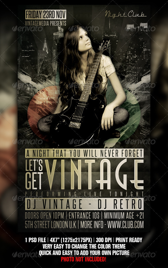 GraphicRiver Vintage Night Flyer 1373839