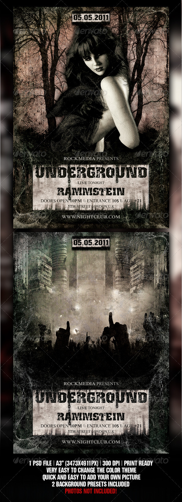 Gothic / Hard Rock A3 Poster Template GraphicRiver - Print Templates -  Flyers  Events  Clubs & Parties 820601
