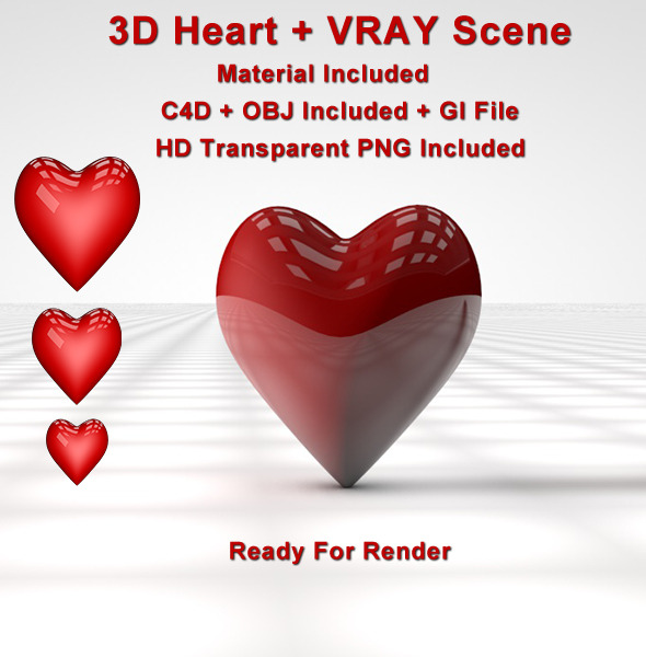 3D Heart ( Vray Scene ) - 3DOcean Item for Sale