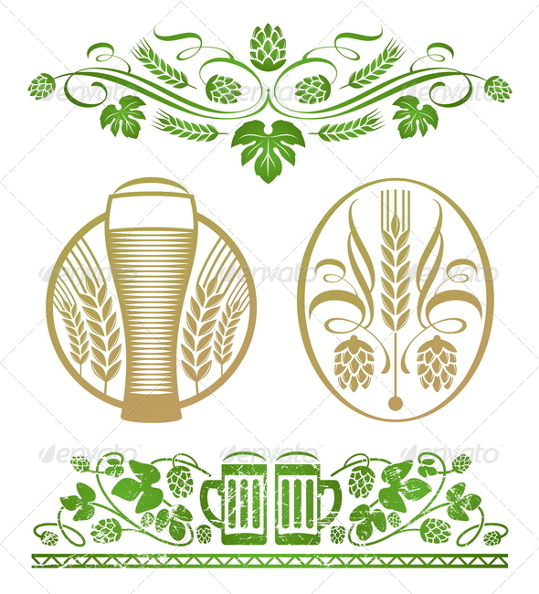 Decorative Elements With Hop, Wheat and Beer - Decorative Vectors