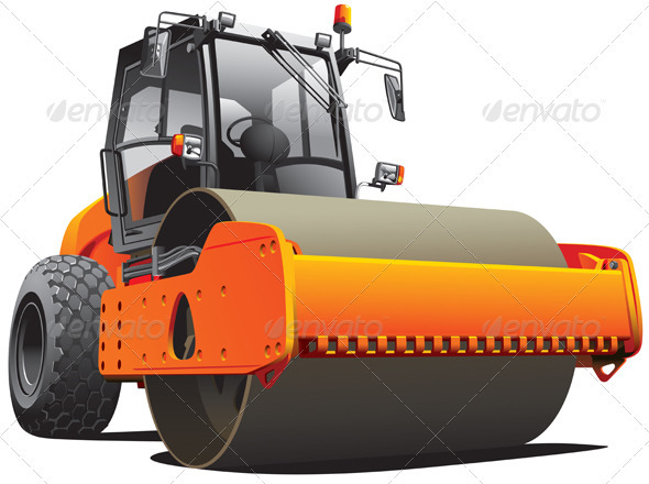 Orange Road Roller - Objects Vectors