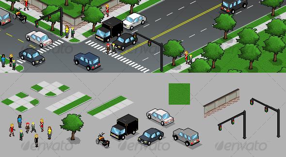 GraphicRiver Pixel Art Design Elements 63951