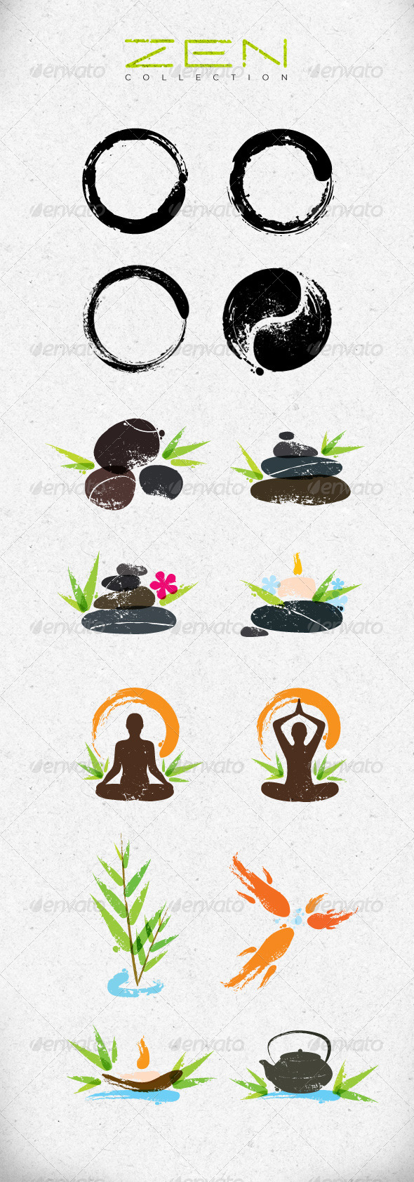 Zen Symbols Creative Vector Design Elements Set - Health/Medicine Conceptual