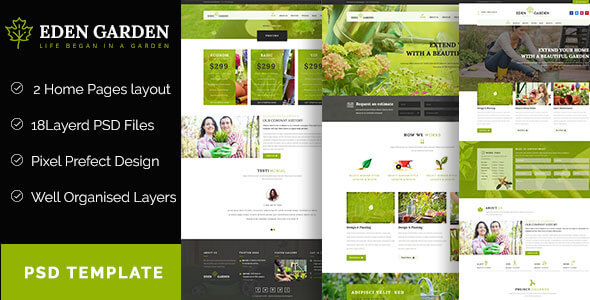 Eden Garden Gardening And Landscaping Psd Template By