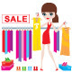 Young woman on clothes and footwear sale - GraphicRiver Item for Sale