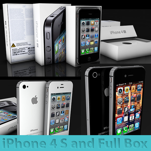 iphone 4s and his Box black and white - 3DOcean Item for Sale