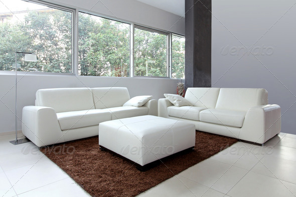 White living room - Stock Photo - Images