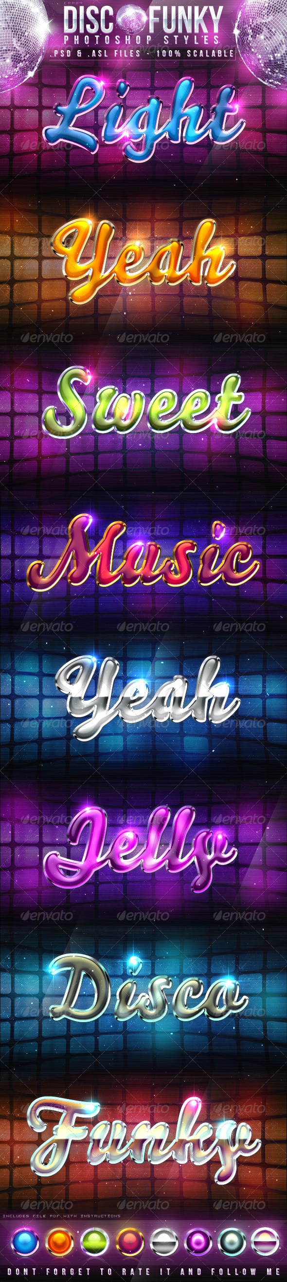 Disco Funky Photoshop Styles - Text Effects Styles