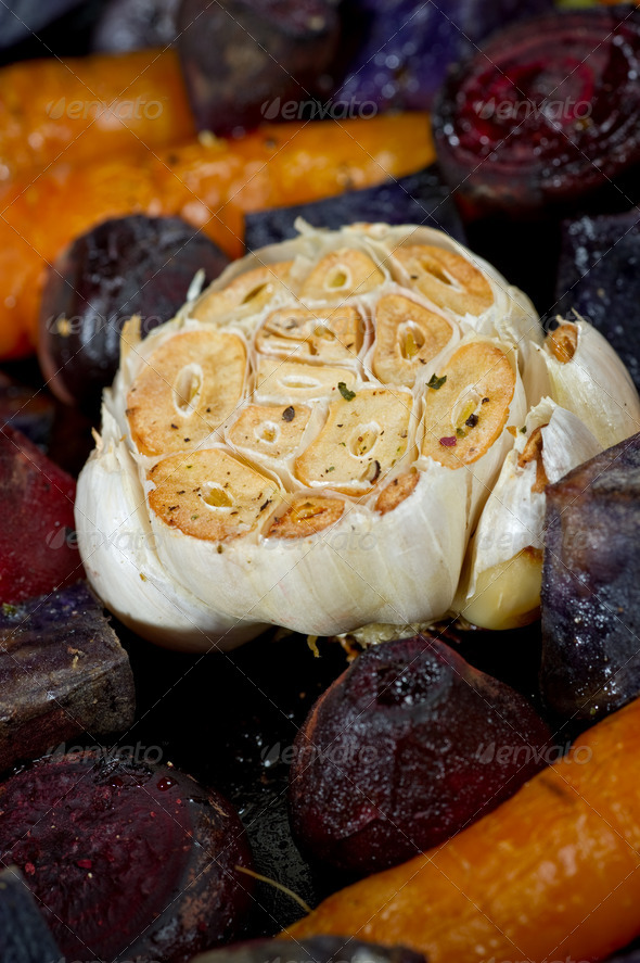 Detail of Garlic and other Root Vegetables - Stock Photo - Images