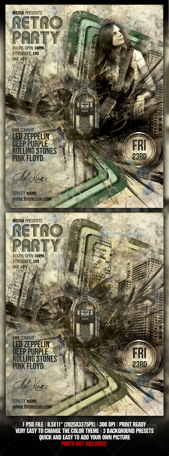 GraphicRiver Retro Vintage Night Club Party Concert Flyer 537539