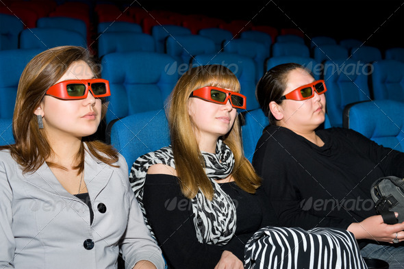 viewers of 3D movie theater - Stock Photo - Images