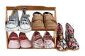Shelf of children shoes for all occasions isolated on white background - PhotoDune Item for Sale