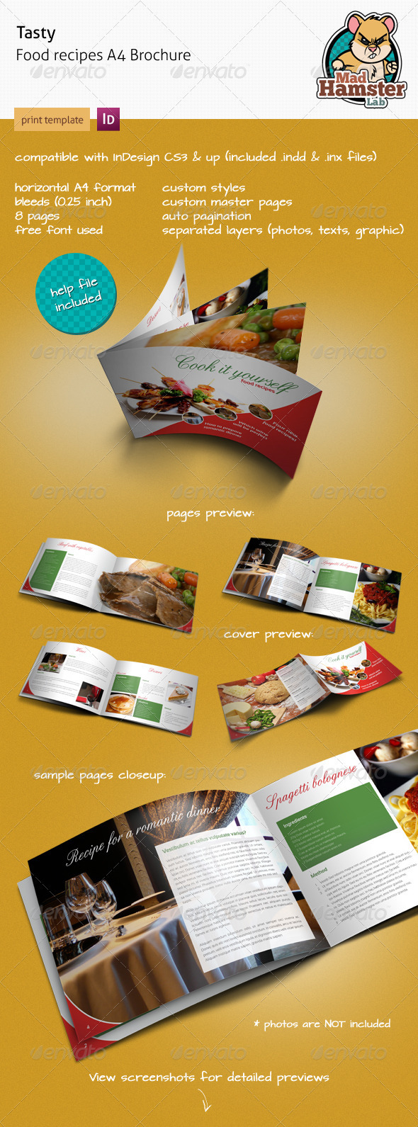 A5 horizontal brochure template indesign for Horizontal brochure design