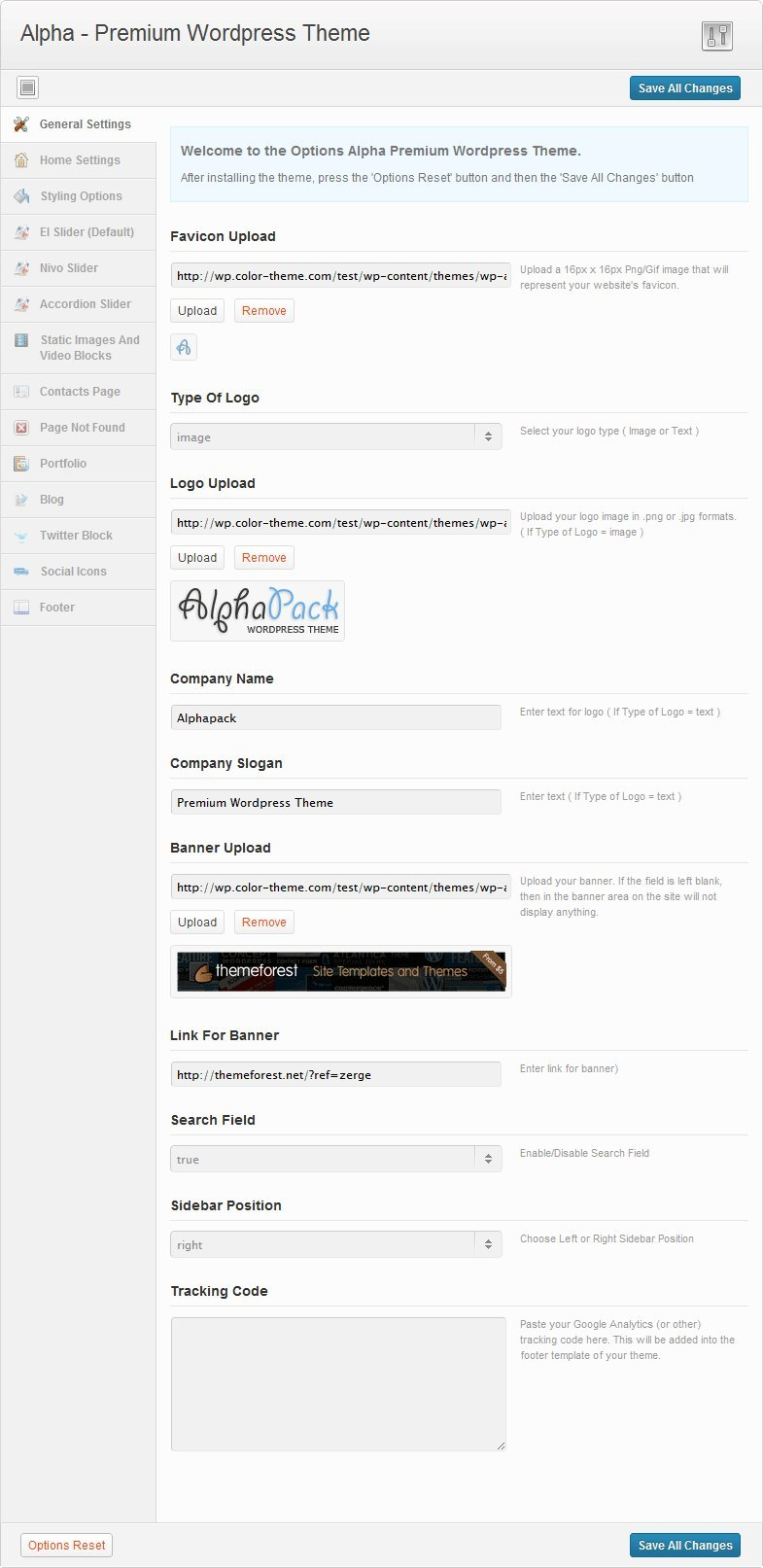 Alphapack - Premium WordPress Theme - Admin Panel - General Settings