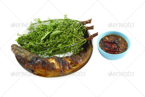 Snake head fish grilled and nim leaf dip with sweet paste. - Stock Photo - Images