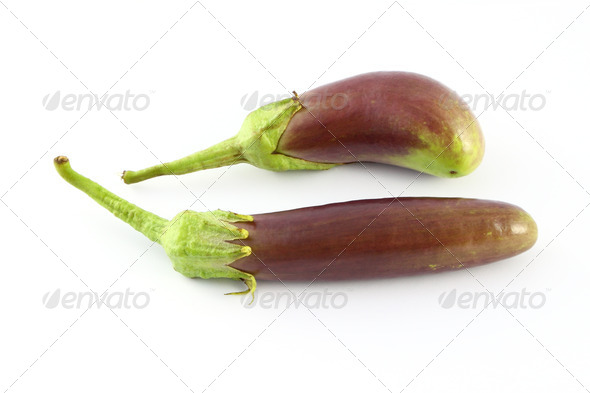 Two purple eggplants on white background. - Stock Photo - Images