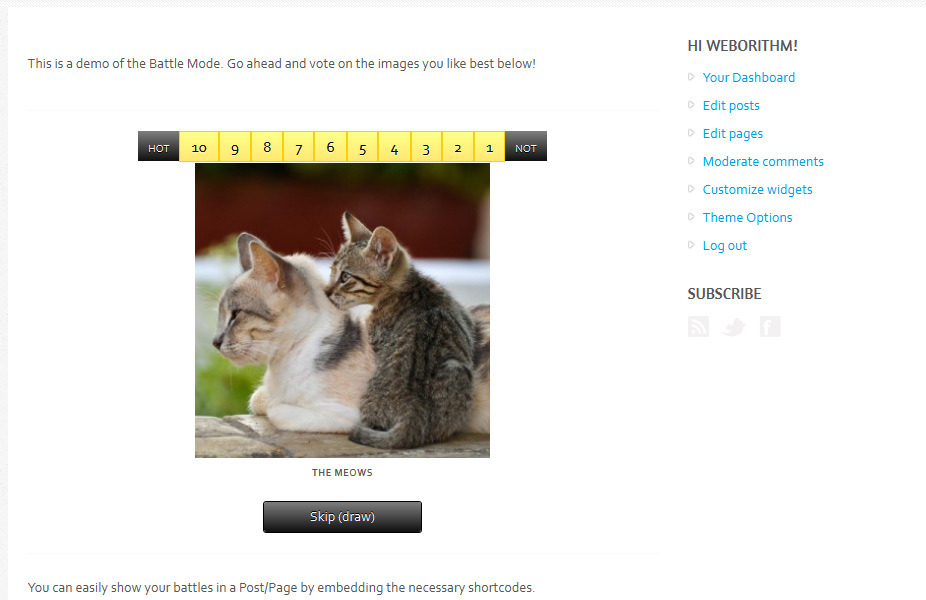 Hot or Not WordPress Plugin - Hot or Not contest preview.