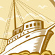 Commercial Fishing Boat Ship Sea Woodcut - GraphicRiver Item for Sale
