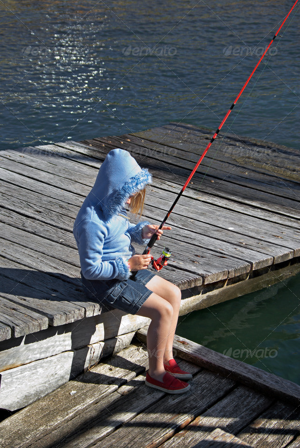 girl fishing - Stock Photo - Images