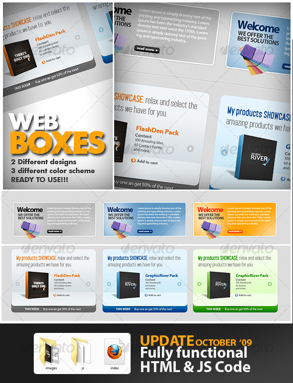 Great Web boxes - Sliders & Features Web Elements