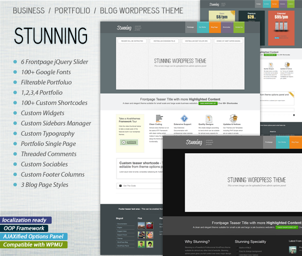 Stunning - Business, Portfolio, Blog, WP Theme - Business Corporate