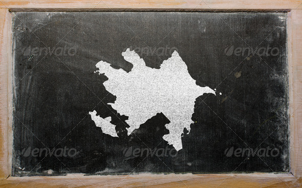 outline map of azerbaijan on blackboard - Stock Photo - Images