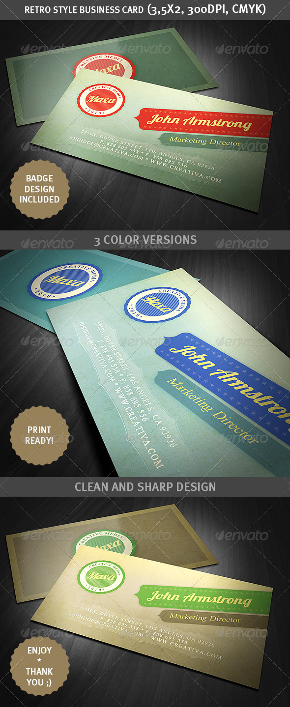 GraphicRiver Retro Style Business Card 1675812