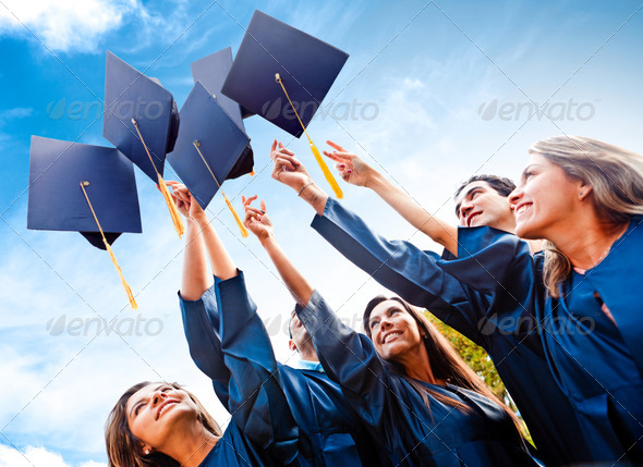 PhotoDune Students throwing graduation hats 1678038