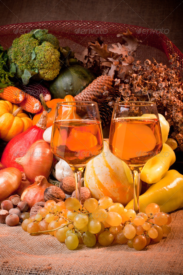 Fall cornucopia setting - Stock Photo - Images