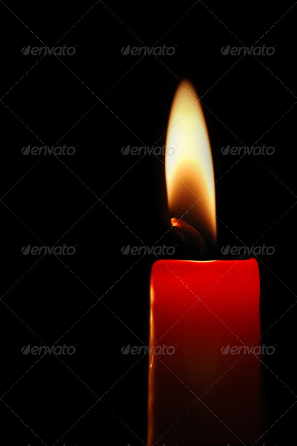 Red candle - Stock Photo - Images