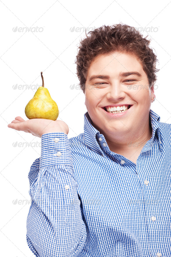 Chubby boy and pear - Stock Photo - Images