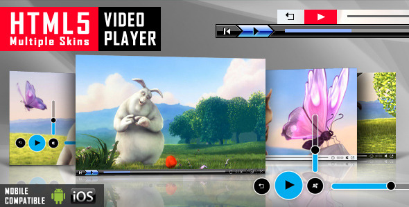 HTML5 VIDEO Multiple Skins PLAYER MOBILE COMPATIBLE inc